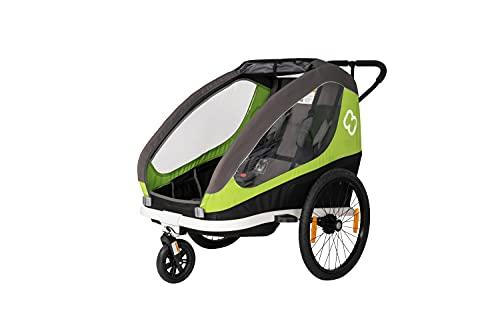 hamax Kinderfahrradanhänger Traveller inklusive Deichsel und Buggyrad Green/Grey