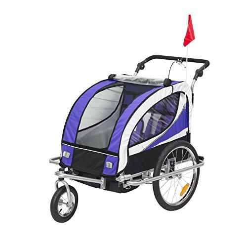 HOMCOM Kinderanhänger 2 in 1 Fahrradanhänger Kinder Jogger Anhänger 360° Drehbar für 2 Kinder lila-schwarz