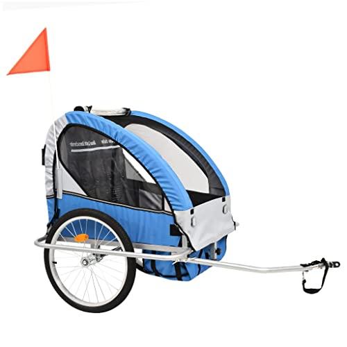 vidaXL Kinderfahrradanhänger 2-in-1 Blau Grau Kinderanhänger Fahrradanhänger - 4