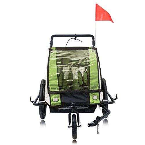 SAMAX Fahrradanhänger Jogger 2in1 360° drehbar Kinderanhänger Kinderfahrradanhänger Transportwagen vollgefederte Hinterachse für 2 Kinder in Grün – Black Frame - 6