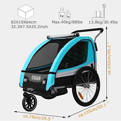Tiggo Kinderfahrradanhänger Fahrradanhänger Jogger 2in1 Anhänger Kinderanhänger JBT03A-D02 grün - 2