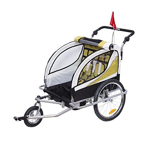 HOMCOM Kinderanhänger 2 in 1 Fahrradanhänger Kinder Jogger Anhänger 360° Drehbar für 2 Kinder gelb-schwarz - 3